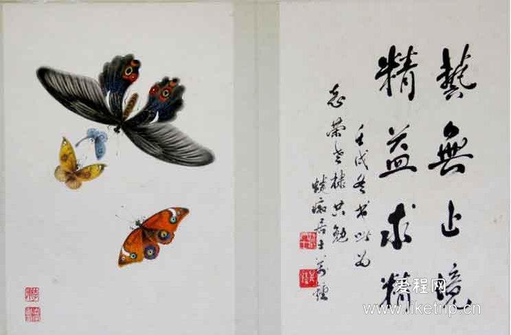 威远工笔蝴蝶画