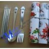 不锈钢餐具三件套 铝盒三件套 旅行餐具折叠叉勺筷,礼品促销品